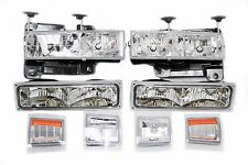 94-98 Chevy Truck Tahoe Suburband Headlight + Bumper Light + Corner Chrome Amber