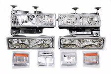 94-98 Chevy Truck Tahoe Suburband Headlight + Bumper Light + Corner Chrome Amber