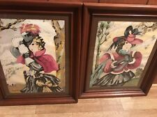 """MARGO ALEXANDER 2 Watercolors Art """" Blue Muff """" Singed And Numbed Women Pictures"""