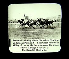 Magic Lantern Slides Belmont Park NY 1915 Stromboli Wins Race Horse Killed Fire