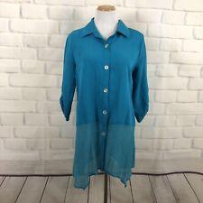 Soft Surroundings M Tunic Shirt Gauze Hem Button