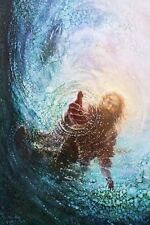 Yongsung Kim HAND OF GOD 10x8 Paper Art Print Jesus Reaching Hand into the Water