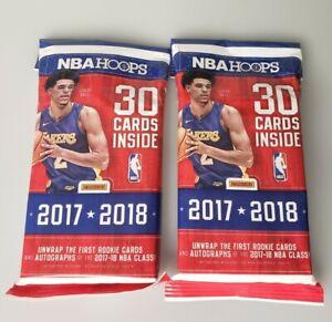 2 NBA Basketball 2017-18 NBA Hoops Trading 30 Card Fat Packs Panini