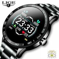 LIGE New Smart Watch Men Pedometer Heart Rate Blood Pressure Monitor Waterproof