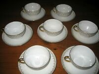 ANTIQUE LIMOGES ELITE WORKS 7 CUPS & SAUCERS SHAMROCKS & ROSES c 1920-1932