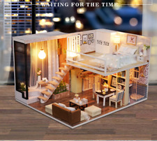 Nuevo Kit de Miniatura de casa de muñecas muebles de madera Sala de moda hazlo tú mismo LED 2 Pisos