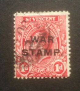 ST VINCENT 1916 WAR STAMP SG122 USED CAT £26