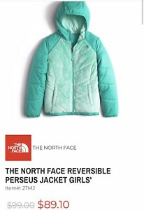 NWOT THE NORTH FACE GIRLS Perseus Reversible Jacket HOODIE GREEN  Size XL (18)