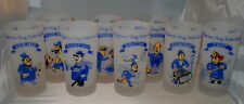 Vintage Frosted Glass Set of 8 Rich Man Poor Man Beggar Man Thief Doctor Lawyer