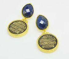 OttomanGems semi precious gem stone gold plated Lapis calligraphy surah quran