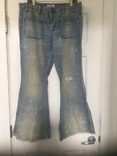 NEW Free People Bleach Splatter Destroyed Flare Leg Jeans Size 30
