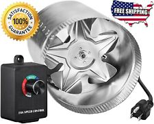 "4"" 6 8 in Inline Duct Booster Fan Exhaust Fans Vent Blower Speed Controller Grow"