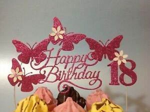 Pink Birthday Cake Decoration Glitter Butterfly ARCH topper party cerise