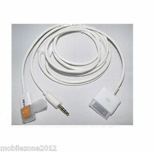 Dock to 3.5mm car Audio in AUX and USB Data Charger Cable iPod/iPhone iPadUZ13