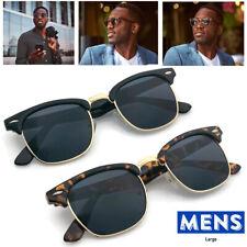 XL Large Half Frame Retro Vintage Glasses Men's Sunglasses Big Head Wide Huge