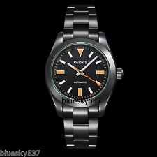 40mm Parnis Black Dial Milgauss Style Automatic Sapphire Glass Mens Watch