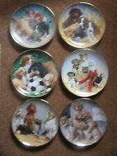 6 x Franklin Mint Plates James Killen ASPCA Dogs Triple Puppy Soccer Basket  ++