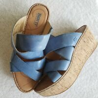 BORN Kapiti Women's Blue Leather Cork Wedge Platform Slide Sandals Size 8 / 39