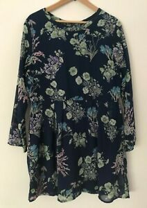 Yumi Floral Print Mini Dress, Long Sleeves, Blue and Green, Size 18