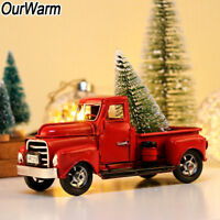 Christmas Vintage Red Metal Truck Kids Gift Toy with Wheels Home Table Top Decor