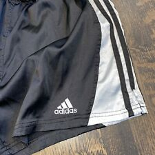 Vtg ADIDAS Soccer Shorts BLACK Striped Shiny Wet Look glanz Polyester MEN MEDIUM