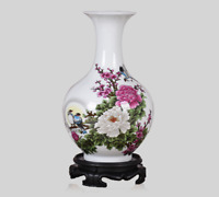 Chinese Jingdezhen Porcelain Colour Decoration Tree Peony Plum Blossom Bird Vase