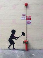 Photography Graffiti Street Banksy Hammer Hydrant Canvas Art Print
