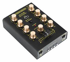 DJ PA Battle Mixer 2-Kanal Mini USB Bluetooth Mischpult Disco Mischer EQ schwarz