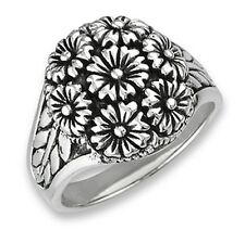 Sterling Silver Flower Bouquet Ring Size 7