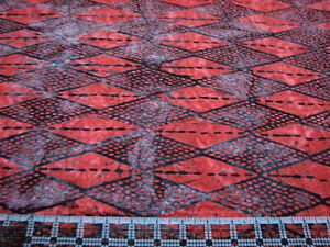 3 Yards Cotton Fabric - Northcott Banyan Batik Kilts & Quilts Red Black Diamonds