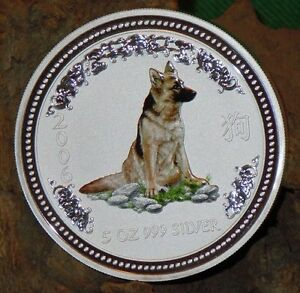 RARE ! ~ 2006 ~.999 SILVER ~5~OZ ~ YEAR of the DOG ~ PERTH MINT ~COLOR ~ $348.88
