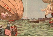 USA VIRGINIE NEWPORT NEWS DIRIGEABLE T.A.S MER REMORQUE BATEAUX 1926 OLD PRINT