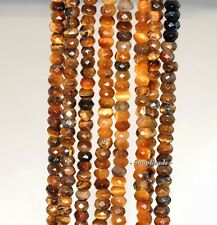 """4X3MM COGNAC TIGER EYES GEMSTONE FACETED RONDELLE 4X3MM LOOSE BEADS 7.5"""""""