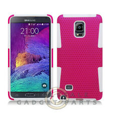 Samsung Galaxy Note 4 Hybrid Mesh Case Hot Pink/White Cover Shell Protector Skin