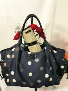 KATE SPADE NEW YORK Navy Blue Polka Dot Nylon Stevie Large Baby Bag