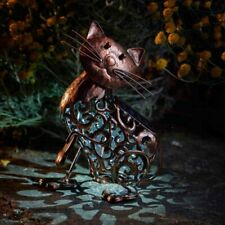 Solar Powered Metal Cat Scroll Light Animal Silhouette Lamp Outdoor Garden Decor