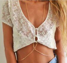 Women Body Chain Jewellery Bikini Waist Gold Belly Hoop Beach Harness Necklace