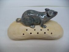 MOUSE w/ BREAD TOOTHPICK HOLDER PALISSY MAJOLICA PORTUGUESE CALDAS SIGNED
