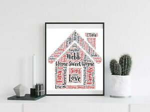 Personalised A4 Word Art House Home Family Gift Photo Picture Print Image