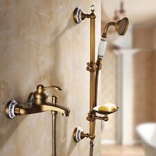 Rétro Laiton Salle de Bain Mur douche Slide Bar robinet set baignoire mélangeur robinet d'eau