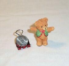 "Miniature Dollhouse Toy Figurine Resin Teddy Bear Boy w/ Box & Vest Brown 1.75"""