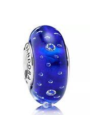 Genuine Pandora Silver Murano Glass Charm Royal Blue Fizzle 791630ZC Cubic Zirco
