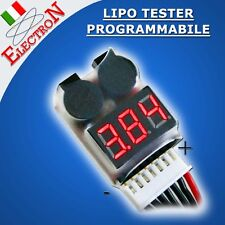 LIPO LiFe BATTERY MONITOR TESTER 3,7V...29,6V + ALLARME 2 BUZZER PROGRAMMABILE