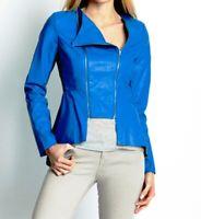 $198 W118 By Walter Baker Lewis Faux Leather Women's Motorcycle Jacket Blue S