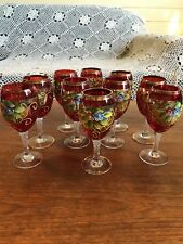 Ten Vintage Bohemian Czech Hand Painted Floral Ruby Red Wine Glasses/Goblets