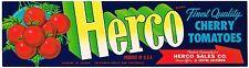 CRATE LABEL VINTAGE HERCO EL CENTRO CALIFORNIA 1950S CHERRY TOMATOES ORIGINAL