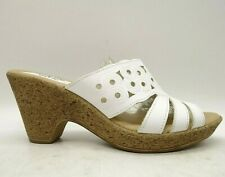 Spring Step White Leather Dress Casual Block Heel Sandals Shoes Women's 39 / 8.5