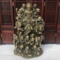Collectible Old Tibet Buddhism copper Bronze eighteen arhat Buddha statue 18monk