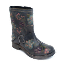 Woman vegan biker ankle boots with embroiled flower pattern on eco microfiber