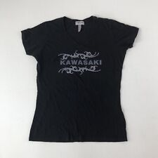 Womens Kawasaki Black V-neck Rhinestone Tee T-Shirt Sz XXL See Measurements